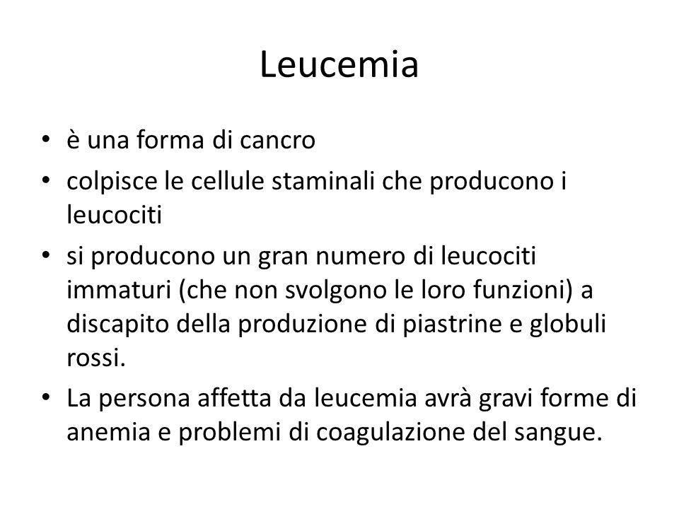 Leucemia è una forma di cancro colpisce le cellule staminali che producono i leucociti si producono un gran numero di leucociti immaturi (che non svolgono le loro funzioni) a discapito della produzione di piastrine e globuli rossi.