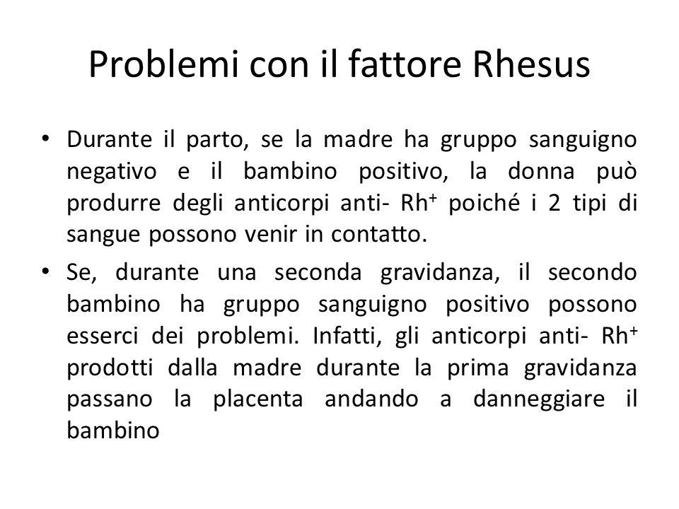 Problemi con il fattore Rhesus Durante il parto, se la madre ha gruppo sanguigno negativo e il bambino positivo, la donna può produrre degli anticorpi