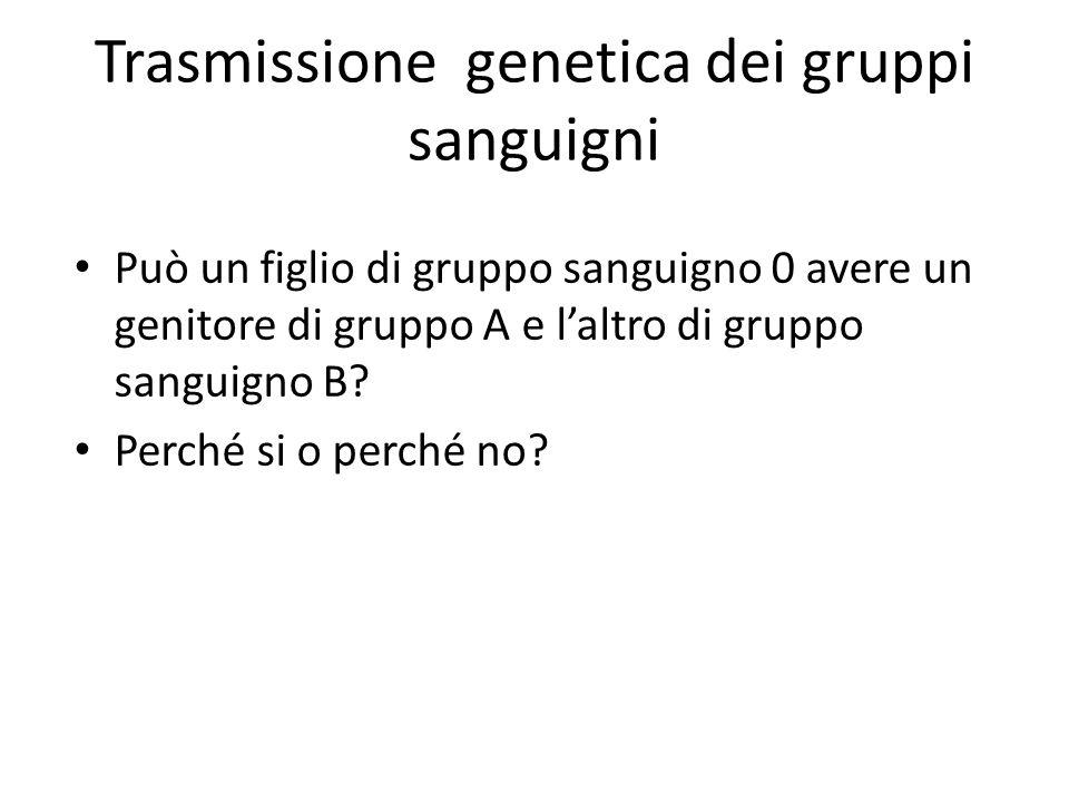 Trasmissione genetica dei gruppi sanguigni Può un figlio di gruppo sanguigno 0 avere un genitore di gruppo A e l'altro di gruppo sanguigno B? Perché s