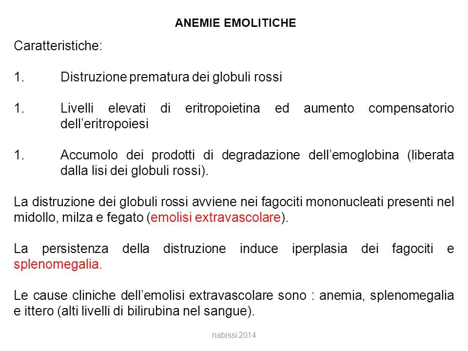 ANEMIE EMOLITICHE Caratteristiche: 1.Distruzione prematura dei globuli rossi 1.Livelli elevati di eritropoietina ed aumento compensatorio dell'eritropoiesi 1.Accumolo dei prodotti di degradazione dell'emoglobina (liberata dalla lisi dei globuli rossi).