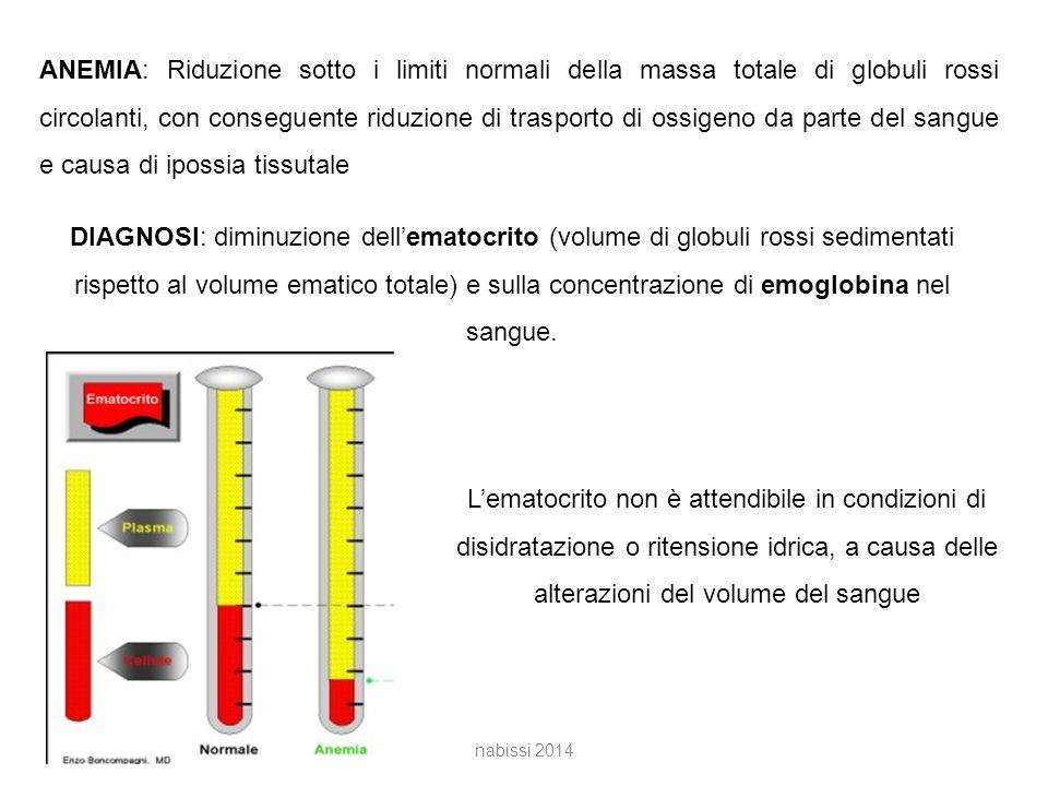 ANEMIA: Riduzione sotto i limiti normali della massa totale di globuli rossi circolanti, con conseguente riduzione di trasporto di ossigeno da parte del sangue e causa di ipossia tissutale DIAGNOSI: diminuzione dell'ematocrito (volume di globuli rossi sedimentati rispetto al volume ematico totale) e sulla concentrazione di emoglobina nel sangue.