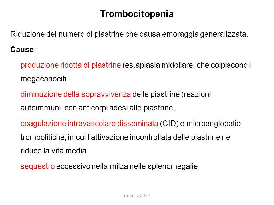 Trombocitopenia Riduzione del numero di piastrine che causa emoraggia generalizzata.