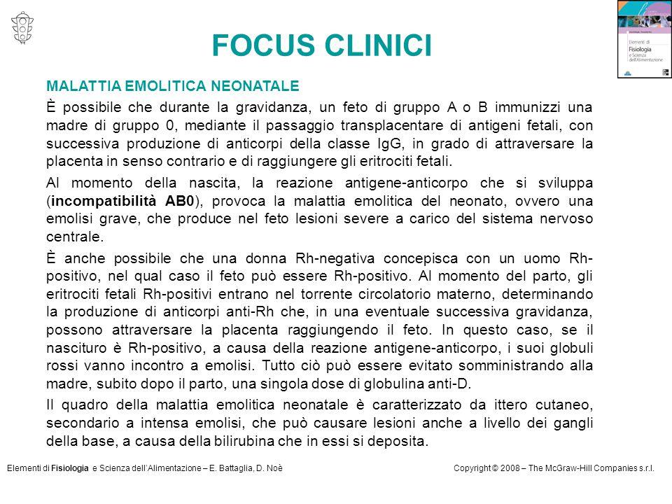 Elementi di Fisiologia e Scienza dell'Alimentazione – E. Battaglia, D. NoèCopyright © 2008 – The McGraw-Hill Companies s.r.l. MALATTIA EMOLITICA NEONA