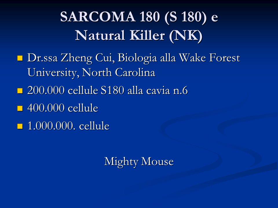 SARCOMA 180 (S 180) e Natural Killer (NK) Dr.ssa Zheng Cui, Biologia alla Wake Forest University, North Carolina Dr.ssa Zheng Cui, Biologia alla Wake