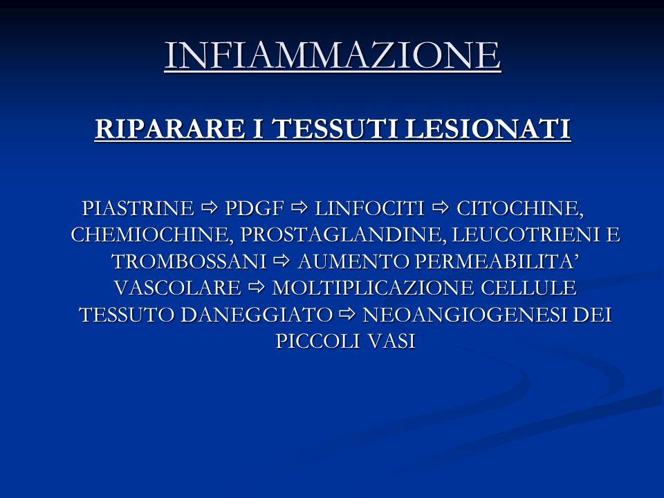 INFIAMMAZIONE RIPARARE I TESSUTI LESIONATI PIASTRINE  PDGF  LINFOCITI  CITOCHINE, CHEMIOCHINE, PROSTAGLANDINE, LEUCOTRIENI E TROMBOSSANI  AUMENTO