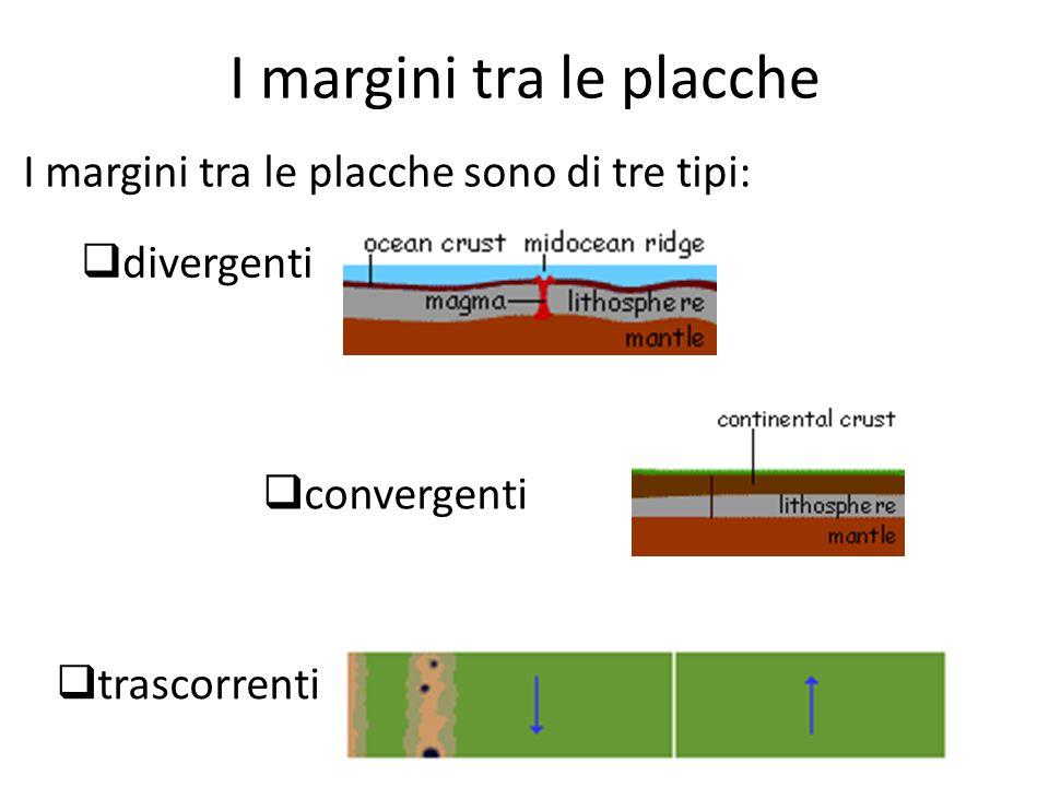 I margini tra le placche I margini tra le placche sono di tre tipi:  divergenti  convergenti  trascorrenti