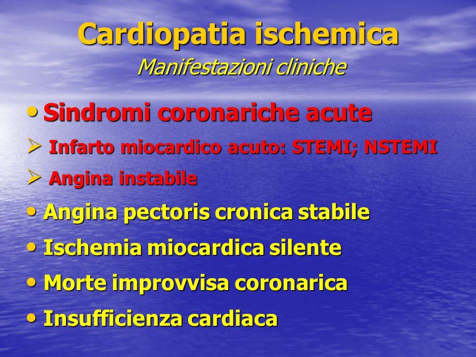 Sindromi coronariche acute Sindromi coronariche acute  Infarto miocardico acuto: STEMI; NSTEMI  Angina instabile Angina pectoris cronica stabile Ang