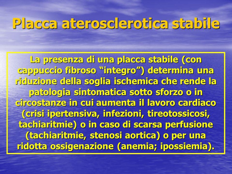 """La presenza di una placca stabile (con cappuccio fibroso """"integro"""") determina una riduzione della soglia ischemica che rende la patologia sintomatica"""