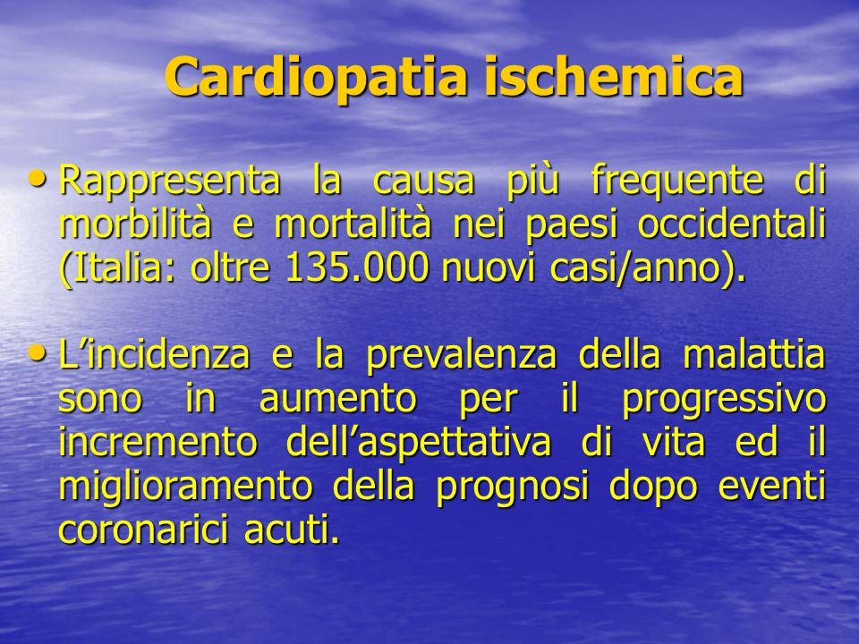 Cardiopatia ischemica Cardiopatia ischemica Rappresenta la causa più frequente di morbilità e mortalità nei paesi occidentali (Italia: oltre 135.000 n