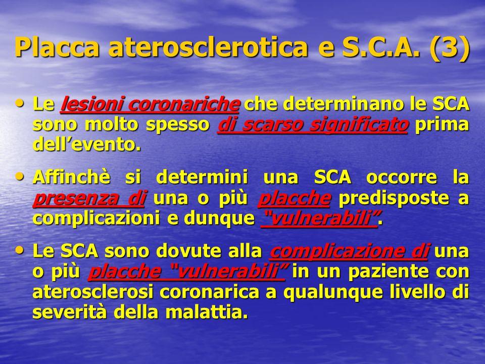 Le lesioni coronariche che determinano le SCA sono molto spesso di scarso significato prima dell'evento. Le lesioni coronariche che determinano le SCA