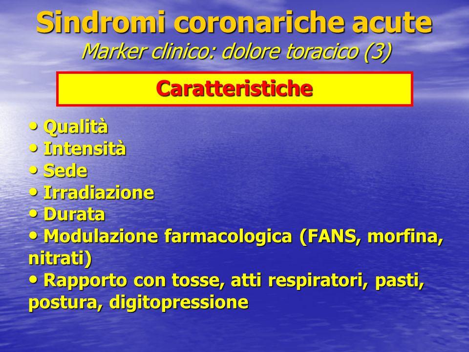 Caratteristiche Qualità Qualità Intensità Intensità Sede Sede Irradiazione Irradiazione Durata Durata Modulazione farmacologica (FANS, morfina, nitrat