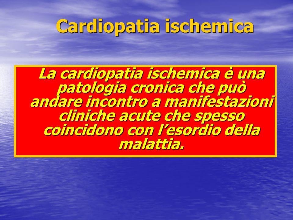 4 - Modificazioni emodinamiche 5 - Alterazioni ECGrafiche 6 - Angina 102030 1 1 - Occlusione coronarica 2 - Alterazioni diastoliche 3 - Alterazioni sistoliche Tempo (sec) ISCHEMIA 2 3 4 6 5 Sindromi Coronariche Acute Sindromi Coronariche Acute Cascata ischemica