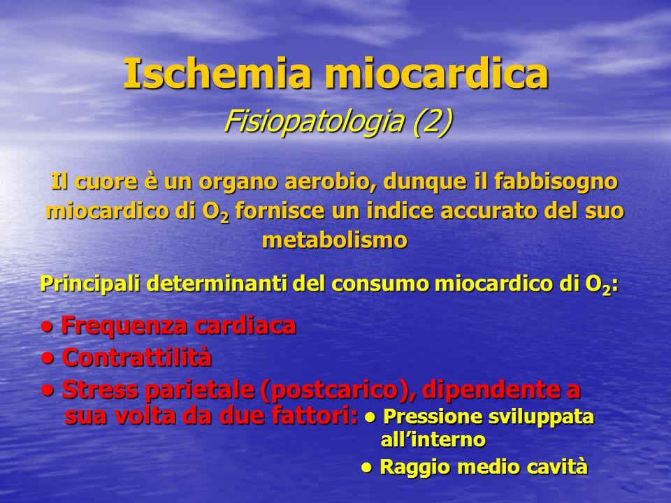 Ischemia miocardica Ischemia miocardica La discrepanza tra fabbisogno ed apporto di ossigeno al miocardio è quasi sempre (> 90% dei casi) secondaria alla presenza di placche aterosclerotiche, determinanti una significativa riduzione del flusso ematico a livello coronarico.
