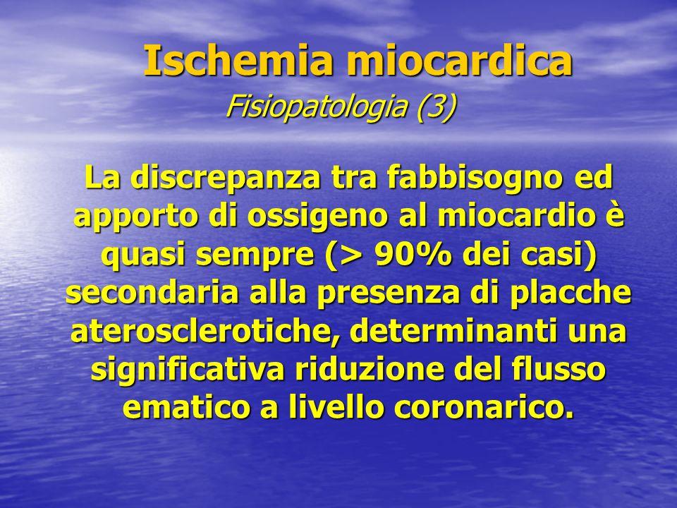 Ischemia miocardica Ischemia miocardica La discrepanza tra fabbisogno ed apporto di ossigeno al miocardio è quasi sempre (> 90% dei casi) secondaria a