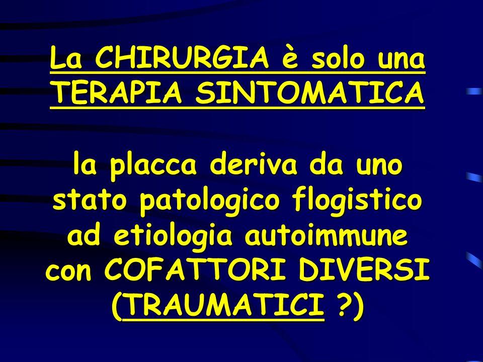 La CHIRURGIA è solo una TERAPIA SINTOMATICA la placca deriva da uno stato patologico flogistico ad etiologia autoimmune con COFATTORI DIVERSI (TRAUMAT