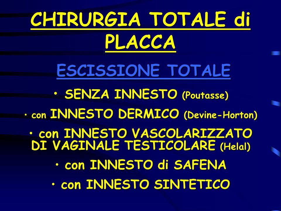 CHIRURGIA TOTALE di PLACCA ESCISSIONE TOTALE ESCISSIONE TOTALE SENZA INNESTO (Poutasse) SENZA INNESTO (Poutasse) con INNESTO DERMICO (Devine-Horton) c