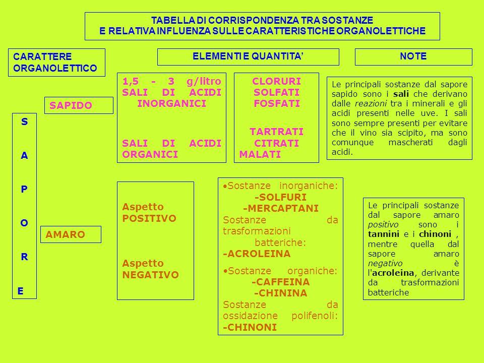 TABELLA DI CORRISPONDENZA TRA SOSTANZE E RELATIVA INFLUENZA SULLE CARATTERISTICHE ORGANOLETTICHE CARATTERE ORGANOLETTICO ELEMENTI E QUANTITA'NOTE SAPORESAPORE SAPIDO 1,5 - 3 g/litro SALI DI ACIDI INORGANICI SALI DI ACIDI ORGANICI CLORURI SOLFATI FOSFATI TARTRATI CITRATI MALATI Le principali sostanze dal sapore sapido sono i sali che derivano dalle reazioni tra i minerali e gli acidi presenti nelle uve.