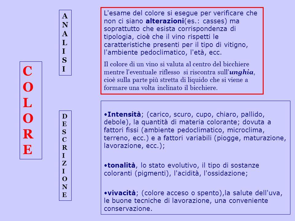 COLORECOLORE Intensità; (carico, scuro, cupo, chiaro, pallido, debole), la quantità di materia colorante; dovuta a fattori fissi (ambiente pedoclimati