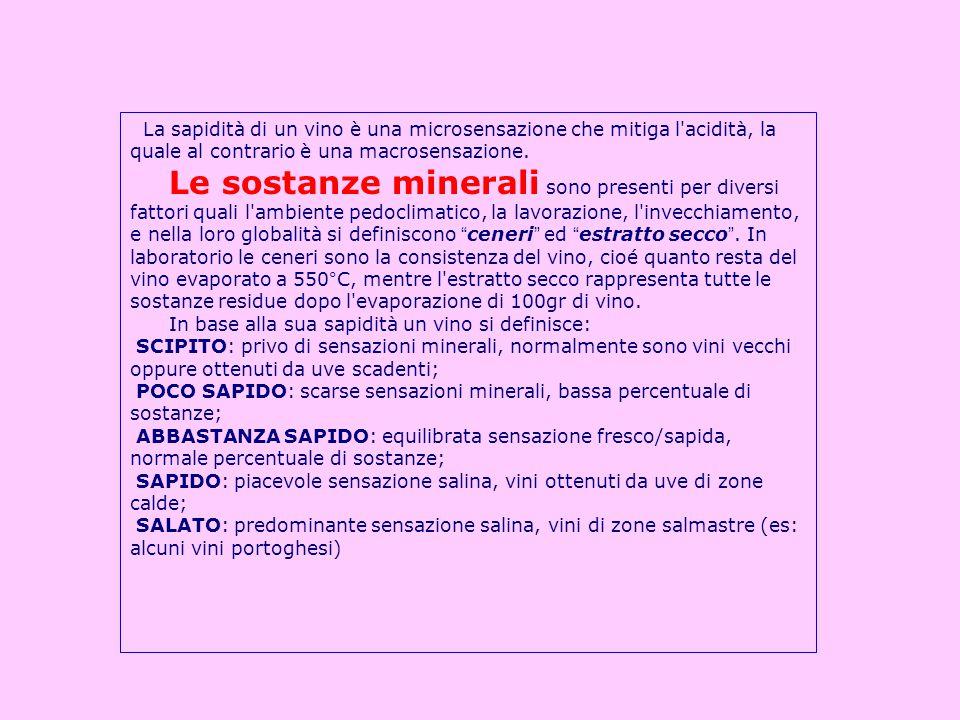 La sapidità di un vino è una microsensazione che mitiga l'acidità, la quale al contrario è una macrosensazione. Le sostanze minerali sono presenti per