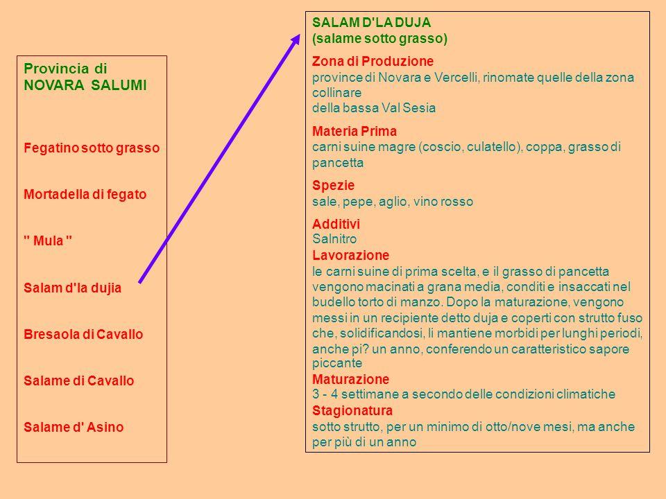 Provincia di NOVARA SALUMI Fegatino sotto grasso Mortadella di fegato Mula Salam d la dujia Bresaola di Cavallo Salame di Cavallo Salame d Asino SALAM D LA DUJA (salame sotto grasso) Zona di Produzione province di Novara e Vercelli, rinomate quelle della zona collinare della bassa Val Sesia Materia Prima carni suine magre (coscio, culatello), coppa, grasso di pancetta Spezie sale, pepe, aglio, vino rosso Additivi Salnitro Lavorazione le carni suine di prima scelta, e il grasso di pancetta vengono macinati a grana media, conditi e insaccati nel budello torto di manzo.