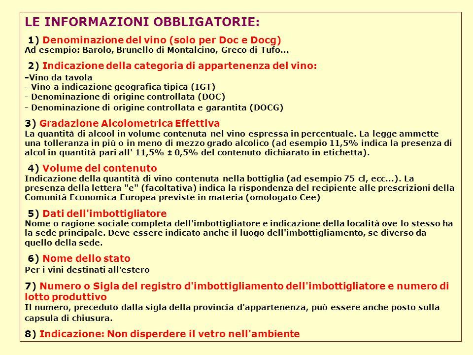 LE INFORMAZIONI OBBLIGATORIE: 1) Denominazione del vino (solo per Doc e Docg) Ad esempio: Barolo, Brunello di Montalcino, Greco di Tufo... 2) Indicazi