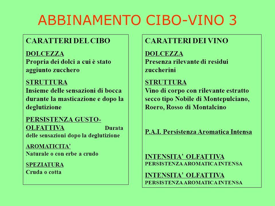 ABBINAMENTO CIBO-VINO 3 CARATTERI DEL CIBO DOLCEZZA Propria dei dolci a cui è stato aggiunto zucchero STRUTTURA Insieme delle sensazioni di bocca dura