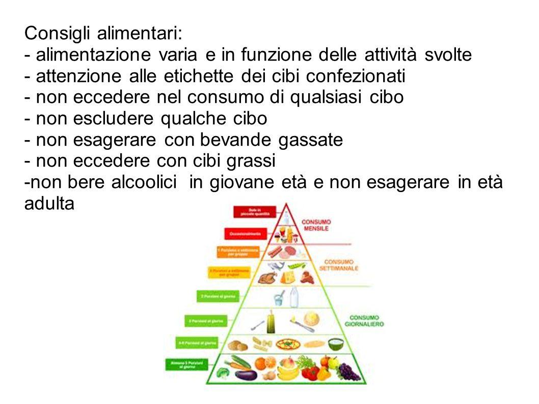 Consigli alimentari: - alimentazione varia e in funzione delle attività svolte - attenzione alle etichette dei cibi confezionati - non eccedere nel co