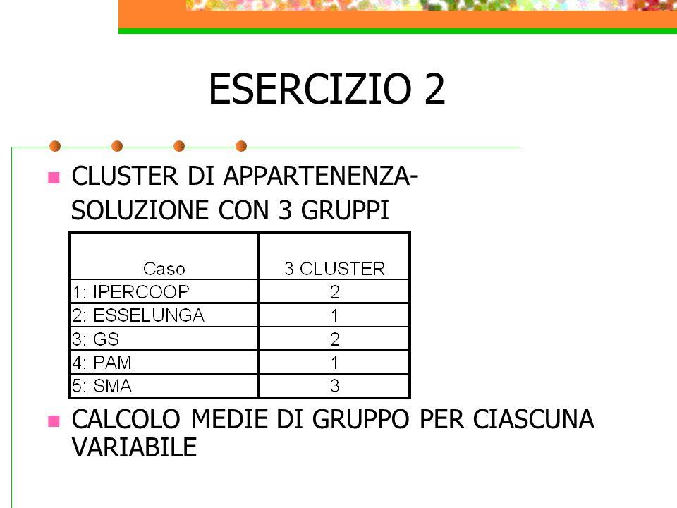 ESERCIZIO 2 CLUSTER DI APPARTENENZA- SOLUZIONE CON 3 GRUPPI CALCOLO MEDIE DI GRUPPO PER CIASCUNA VARIABILE