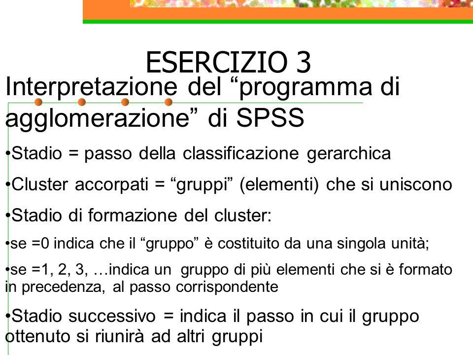"""Interpretazione del """"programma di agglomerazione"""" di SPSS Stadio = passo della classificazione gerarchica Cluster accorpati = """"gruppi"""" (elementi) che"""