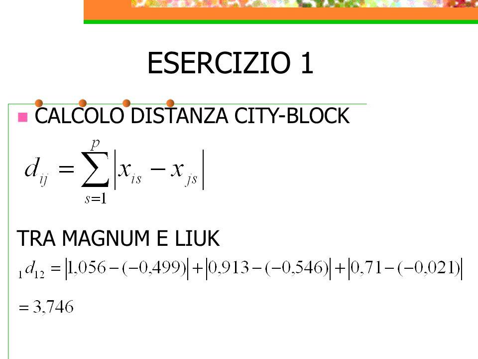 CALCOLO DISTANZA CITY-BLOCK TRA MAGNUM E LIUK