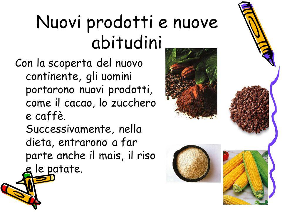 Nuovi prodotti e nuove abitudini Con la scoperta del nuovo continente, gli uomini portarono nuovi prodotti, come il cacao, lo zucchero e caffè. Succes