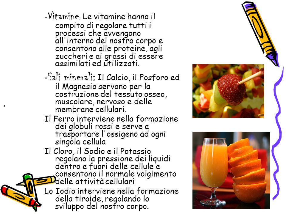 - Vitamine : Le vitamine hanno il compito di regolare tutti i processi che avvengono all'interno del nostro corpo e consentono alle proteine, agli zuc