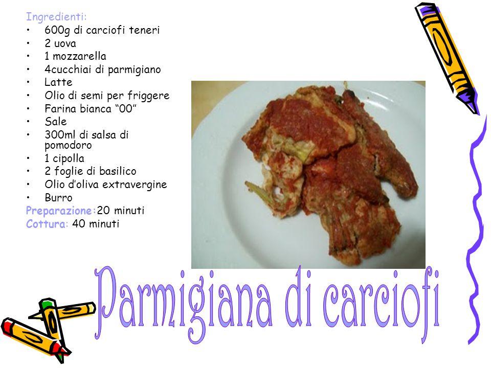 "Ingredienti: 600g di carciofi teneri 2 uova 1 mozzarella 4cucchiai di parmigiano Latte Olio di semi per friggere Farina bianca ""00"" Sale 300ml di sals"