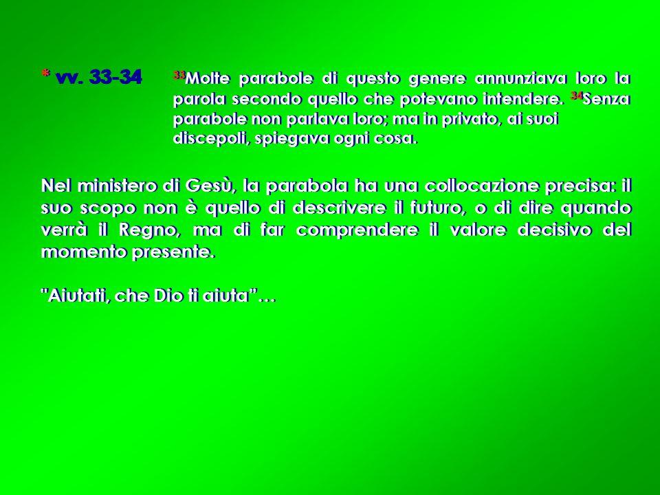 * vv. 33-34 33 Molte parabole di questo genere annunziava loro la parola secondo quello che potevano intendere. 34 Senza parabole non parlava loro; ma