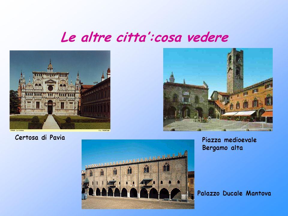 Le altre citta':cosa vedere Certosa di Pavia Piazza medioevale Bergamo alta Palazzo Ducale Mantova