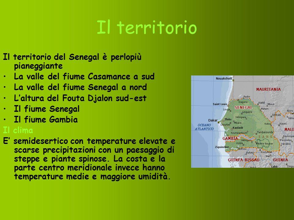 Il territorio Il territorio del Senegal è perlopiù pianeggiante La valle del fiume Casamance a sud La valle del fiume Senegal a nord L'altura del Fout