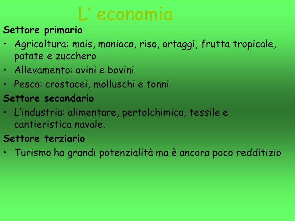 L' economia Settore primario Agricoltura: mais, manioca, riso, ortaggi, frutta tropicale, patate e zucchero Allevamento: ovini e bovini Pesca: crostac