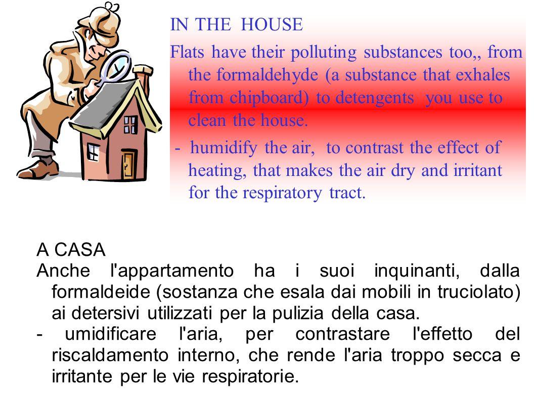A CASA Anche l appartamento ha i suoi inquinanti, dalla formaldeide (sostanza che esala dai mobili in truciolato) ai detersivi utilizzati per la pulizia della casa.