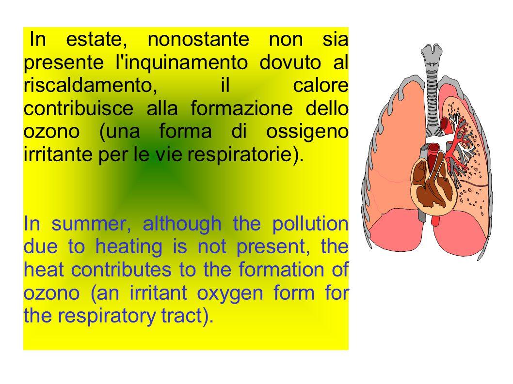 In estate, nonostante non sia presente l inquinamento dovuto al riscaldamento, il calore contribuisce alla formazione dello ozono (una forma di ossigeno irritante per le vie respiratorie).