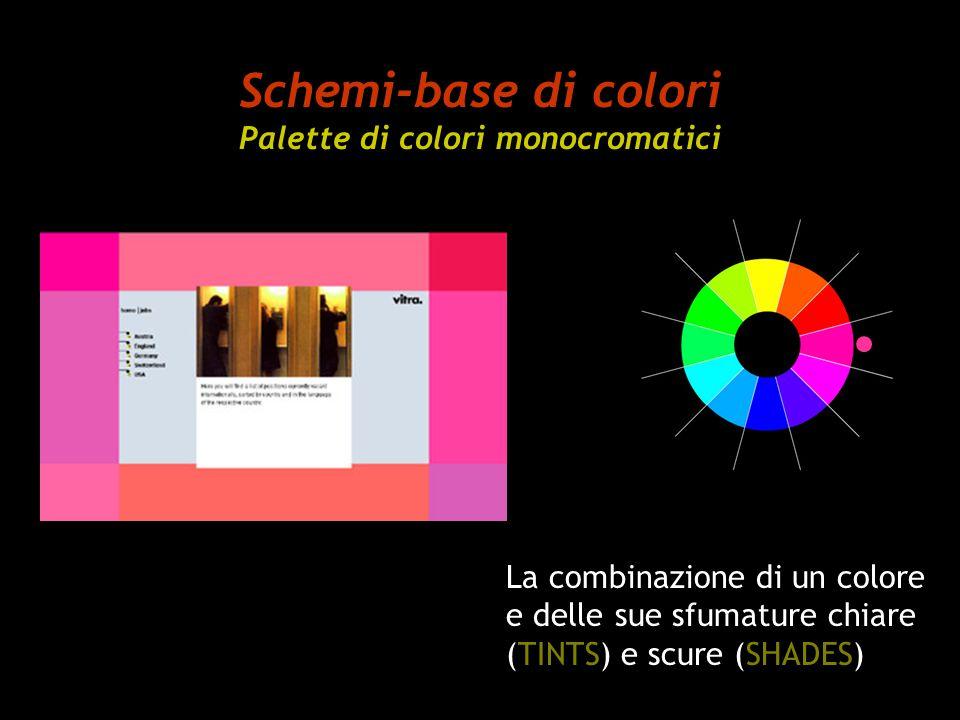 Schemi-base di colori Palette di colori monocromatici La combinazione di un colore e delle sue sfumature chiare (TINTS) e scure (SHADES)