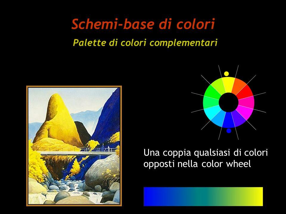 Schemi-base di colori Palette di colori complementari Una coppia qualsiasi di colori opposti nella color wheel