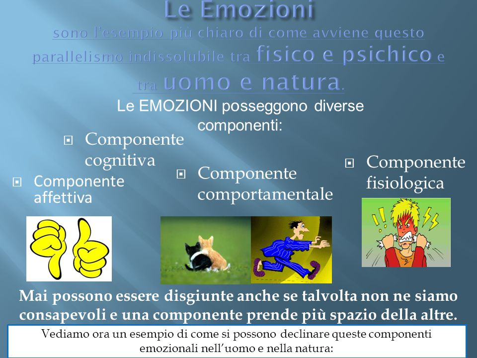  Componente cognitiva  Componente comportamentale  Componente affettiva  Componente fisiologica Mai possono essere disgiunte anche se talvolta non