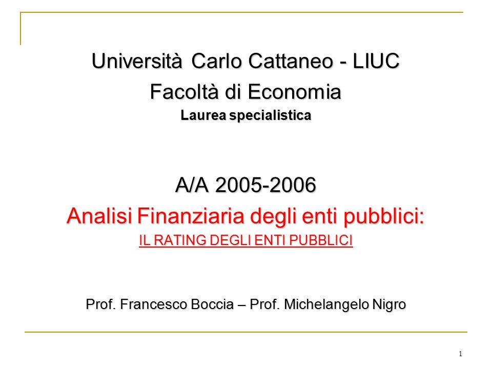 1 Università Carlo Cattaneo - LIUC Facoltà di Economia Laurea specialistica A/A 2005-2006 Analisi Finanziaria degli enti pubblici: IL RATING DEGLI ENTI PUBBLICI Prof.
