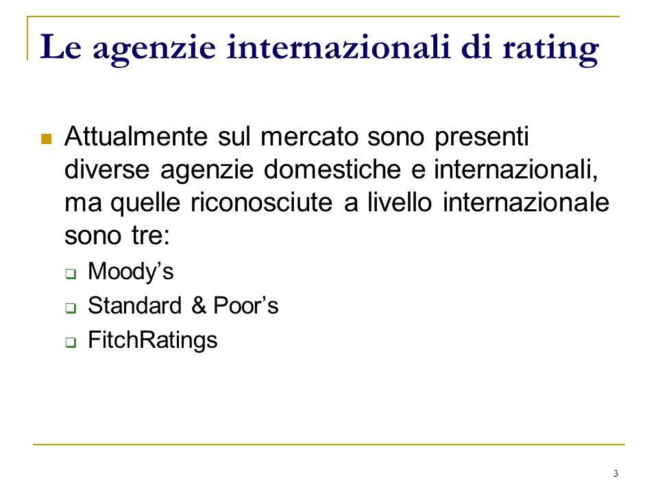 3 Le agenzie internazionali di rating Attualmente sul mercato sono presenti diverse agenzie domestiche e internazionali, ma quelle riconosciute a livello internazionale sono tre:  Moody's  Standard & Poor's  FitchRatings