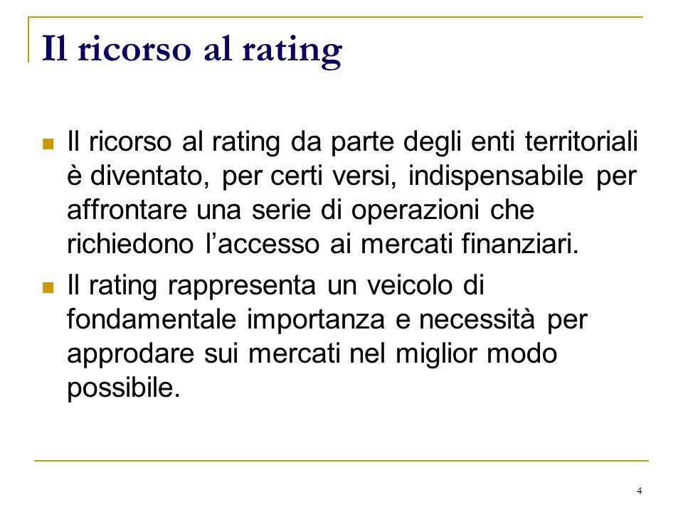 4 Il ricorso al rating Il ricorso al rating da parte degli enti territoriali è diventato, per certi versi, indispensabile per affrontare una serie di operazioni che richiedono l'accesso ai mercati finanziari.