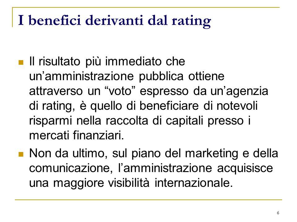6 I benefici derivanti dal rating Il risultato più immediato che un'amministrazione pubblica ottiene attraverso un voto espresso da un'agenzia di rating, è quello di beneficiare di notevoli risparmi nella raccolta di capitali presso i mercati finanziari.