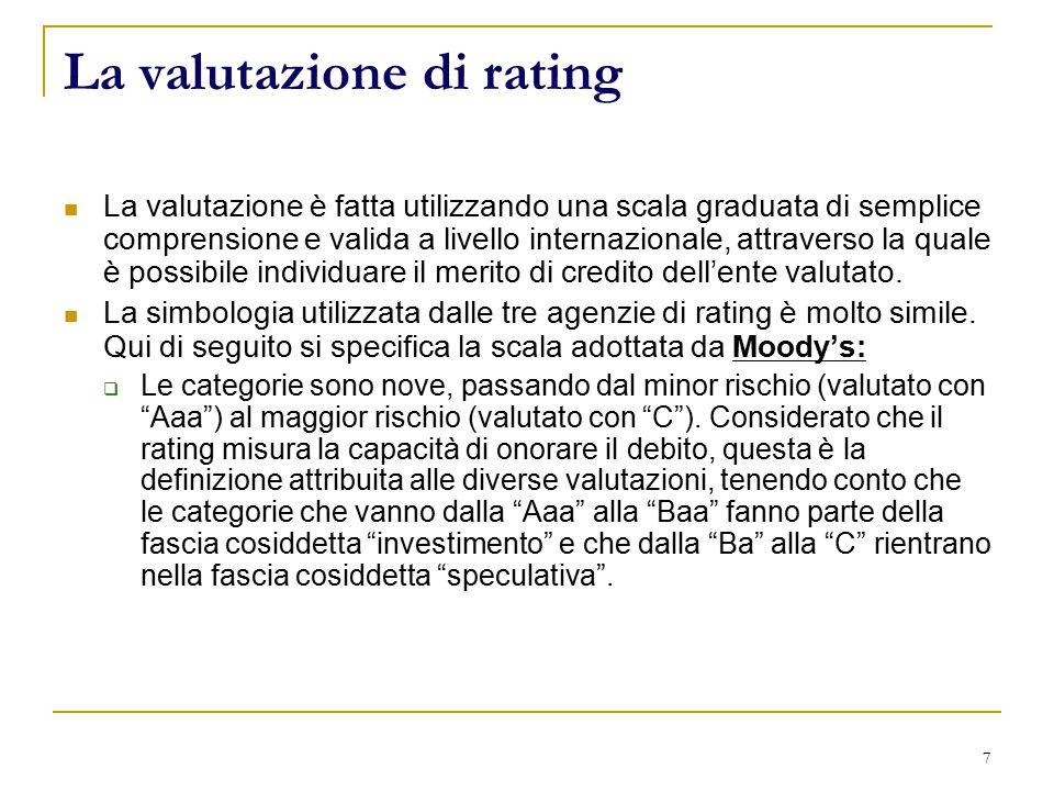 7 La valutazione di rating La valutazione è fatta utilizzando una scala graduata di semplice comprensione e valida a livello internazionale, attraverso la quale è possibile individuare il merito di credito dell'ente valutato.