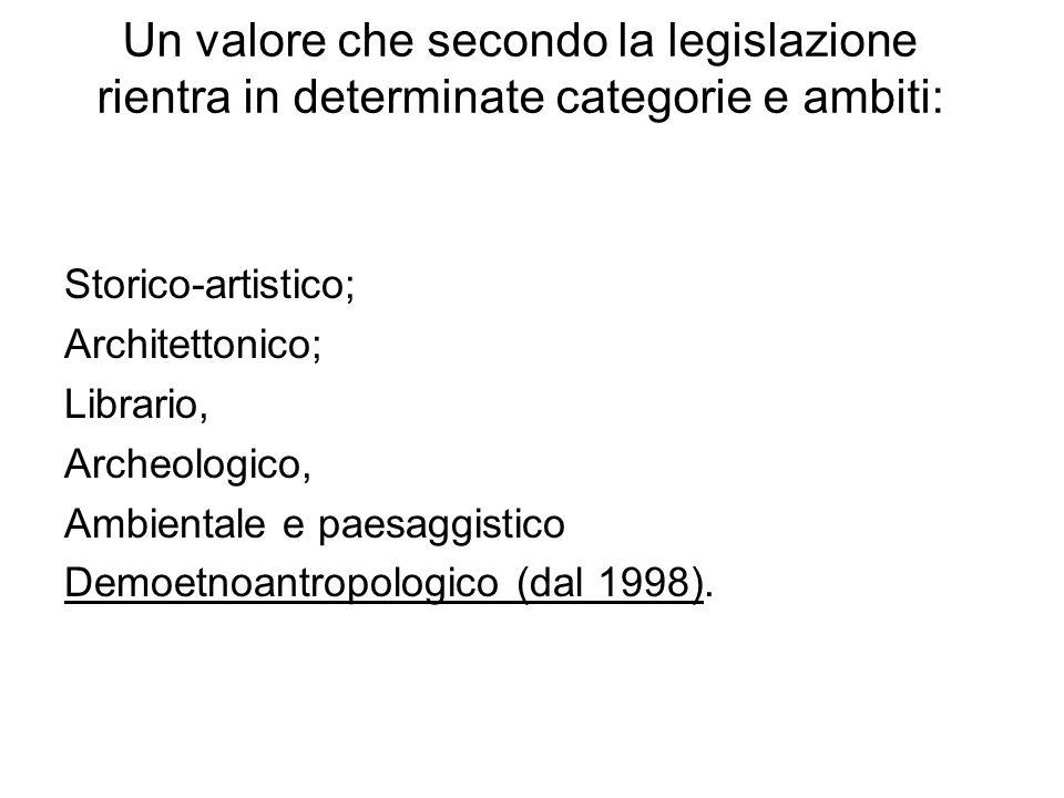 Un valore che secondo la legislazione rientra in determinate categorie e ambiti: Storico-artistico; Architettonico; Librario, Archeologico, Ambientale