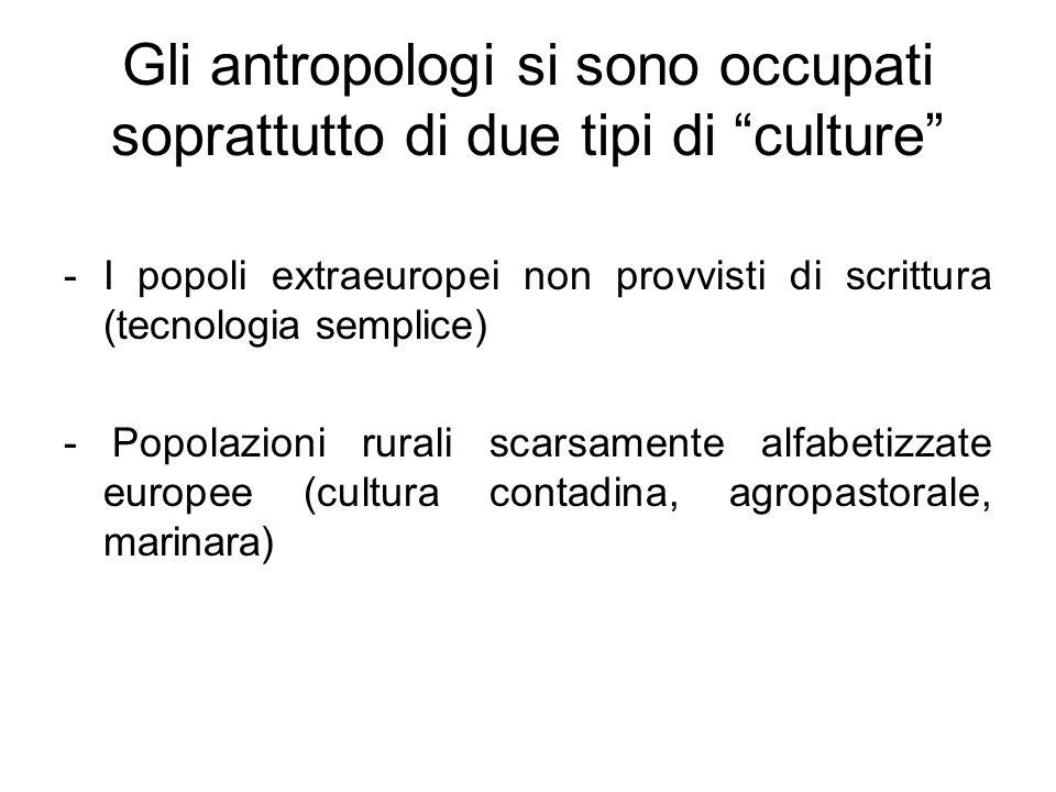 """Gli antropologi si sono occupati soprattutto di due tipi di """"culture"""" -I popoli extraeuropei non provvisti di scrittura (tecnologia semplice) - Popola"""