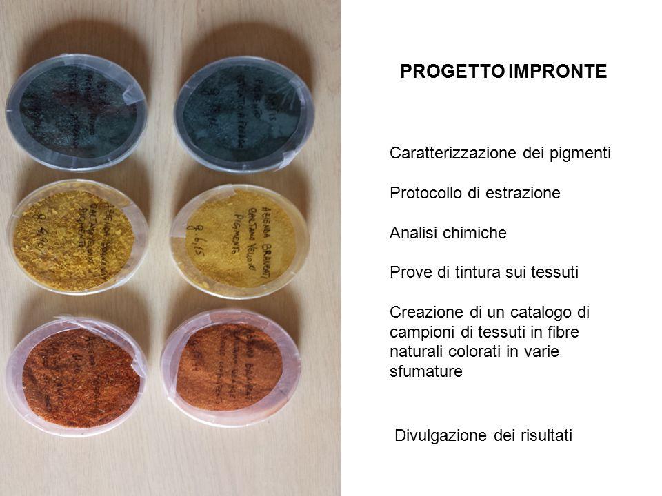 PROGETTO IMPRONTE Caratterizzazione dei pigmenti Protocollo di estrazione Analisi chimiche Prove di tintura sui tessuti Creazione di un catalogo di campioni di tessuti in fibre naturali colorati in varie sfumature Divulgazione dei risultati